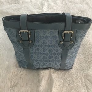 Croft & Barrow Blue Canvas & Leather Buckled Bag